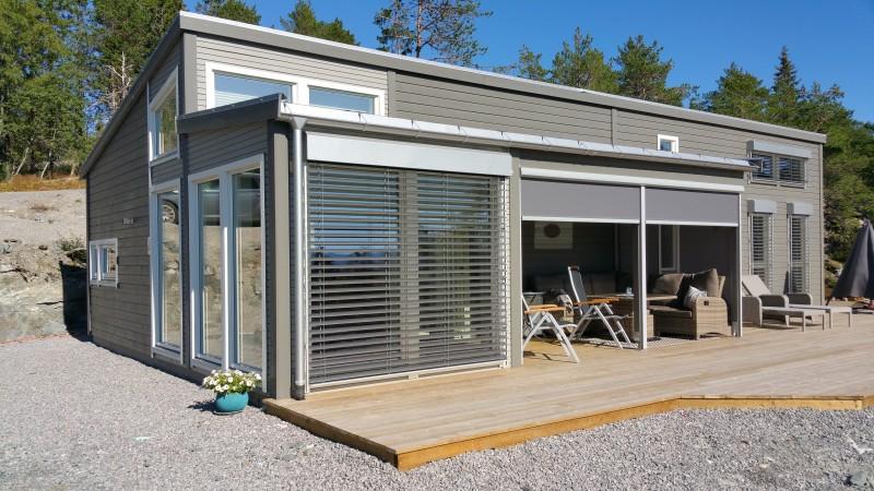 Persienner utendørs kan lett integreres i husfasaden