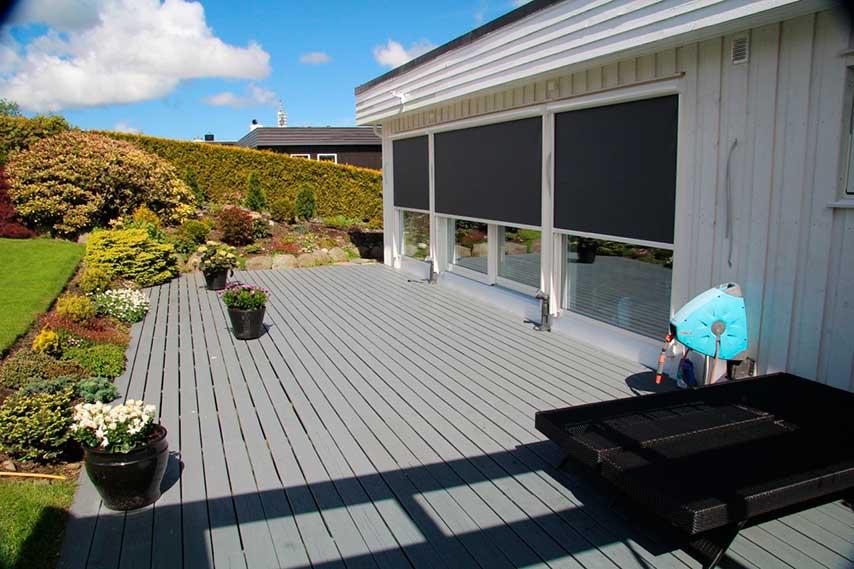 utvendig solskjerming med screens, sett fra utsiden